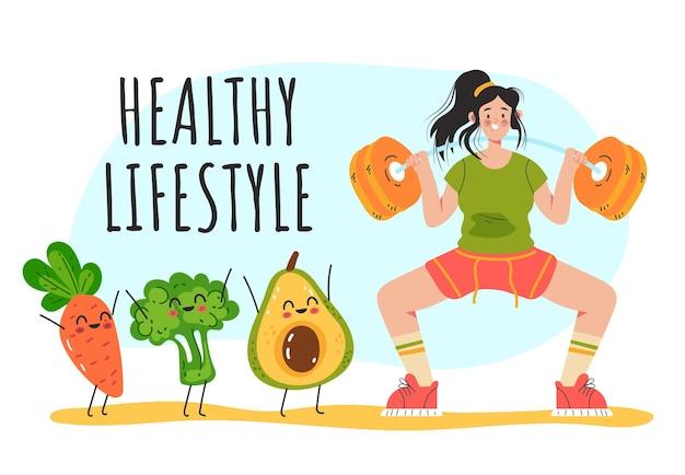 Vrouwenkarakter die aan lichaamsbeweging doen en gezonde voeding hebben Premium Vector