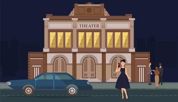 Vrouwenkarakter die luxeuitrusting dragen dichtbij auto op theater de bouwachtergrond. meisje in elegante jurk met telefoon in het theater. echtpaar met datum. persoon bij vip-evenement illustratie.
