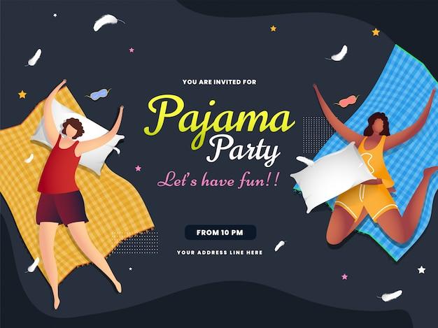 Vrouwenkarakter die met laken op grijze samenvatting voor de vieringsbanner van de pyjamapartij liggen