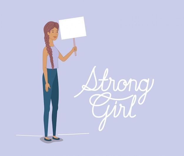 Vrouwenkarakter met feministisch bericht