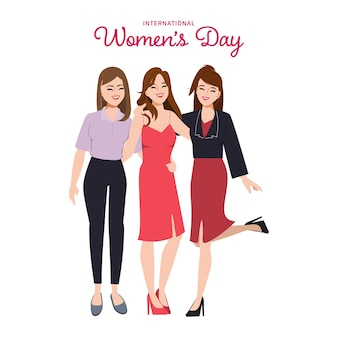 Vrouwenkaraktergroep poseert voor sterkere kracht en perfect werkteamwerk vrouwendagkarakters