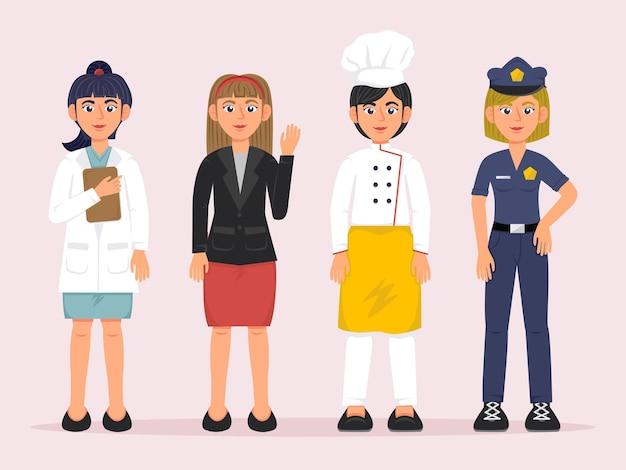 Vrouwenkarakters met verschillende beroepen in bundelset in cartoonstijl