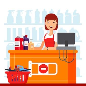 Vrouwenkassier in supermarkt met huishoudenchemische producten.