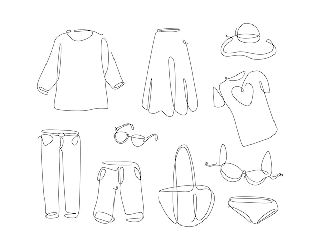 Vrouwenkleding in eenvoudige lijnstijl kledingset met één doorlopende lijn