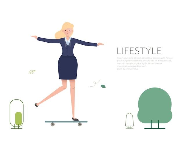 Vrouwenmensen in het karakter van de activiteitenlevensstijl.