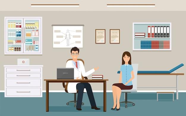 Vrouwenpatiënt bij het overleg van een arts in kliniekkantoor.