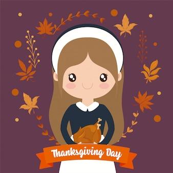Vrouwenpelgrim van thanksgiving day