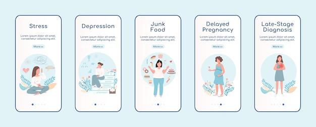 Vrouwenprobleem onboarding platte schermsjabloon voor mobiele app