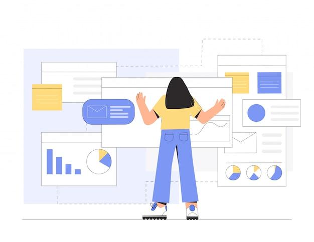 Vrouwenprogrammeur of ontwerper die in programma een bedrijfbureau werken.