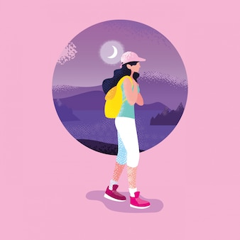 Vrouwenreiziger in de purpere scène van de landschapsaard