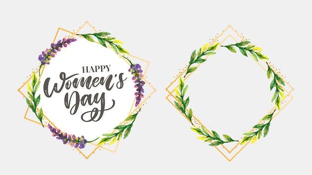 Vrouwens dag tekstontwerp met bloemen illustratie. vrouwens dag groet kalligrafie ontwerp