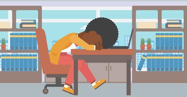 Vrouwenslaap op het werk.