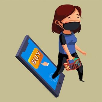 Vrouwenslijtage masker wil naar boodschappen gaan in plaats van online winkelen