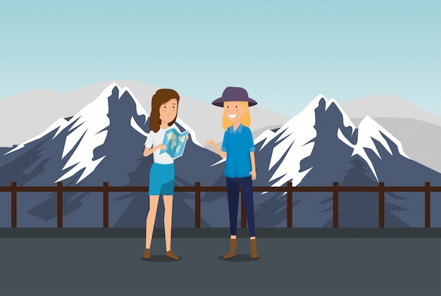 Vrouwentoerist met globale kaart in de sneeuwbergen