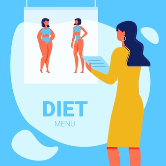 Vrouwenvoedingsdeskundige met in hand kladblok. dieet menu