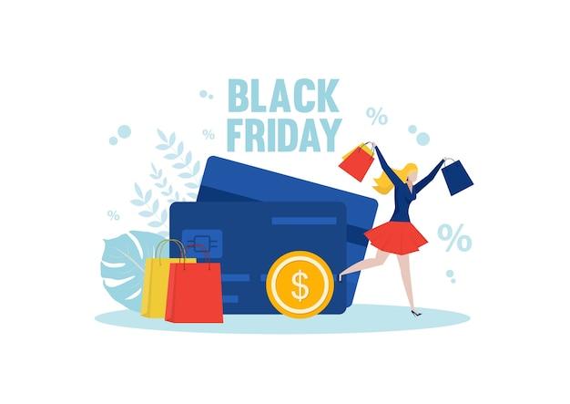 Vrouwenwinkels genieten van boodschappentassen op zwarte vrijdag. mensen kopen dingen met kortingen.