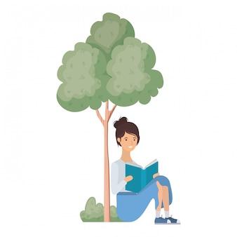 Vrouwenzitting met boek in landschap met bomen en installaties