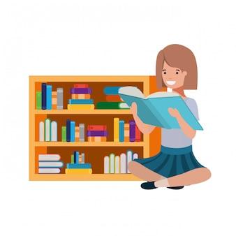 Vrouwenzitting met stapel boeken