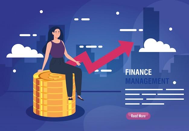 Vrouwenzitting op stapel van muntstukken met omhoog infographic pijl