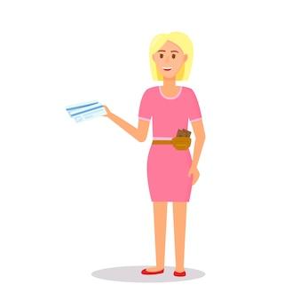 Vrouwkarakter die het roze kaartje van de holding van de kleding draagt.