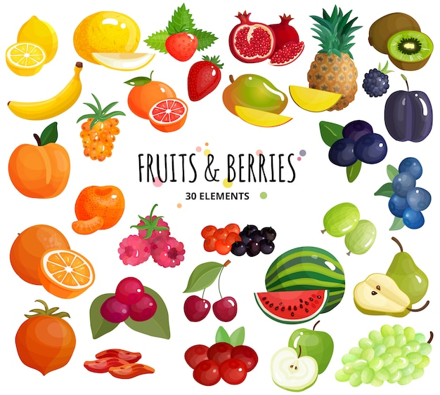 Vruchten bessen samenstelling achtergrond poster