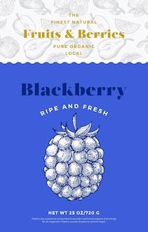Vruchten en bessen patroon label sjabloon abstract vector verpakking ontwerp lay-out moderne typografie ...