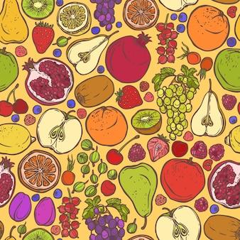 Vruchten en bessen schetsen naadloos patroon