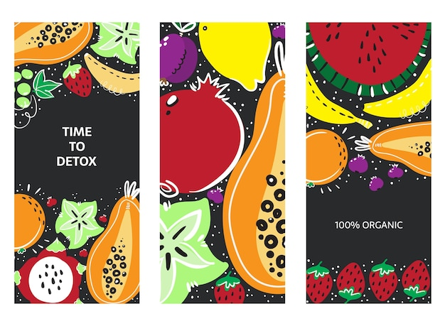 Vruchten hand getrokken banner set. gezonde maaltijd, dieet, voeding of levensstijl.