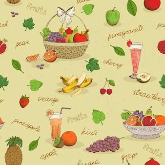 Vruchten naadloos patroon met namen