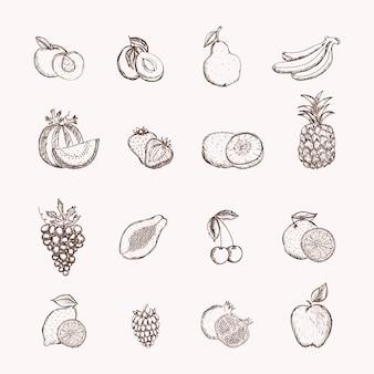 Vruchten pictogrammen ingesteld