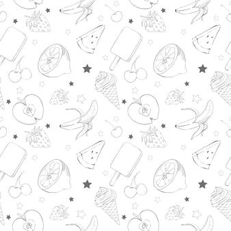 Vruchten schets, naadloze achtergrond voor uw ontwerp