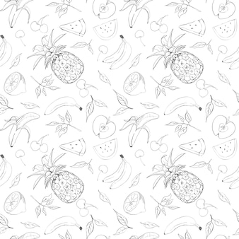 Vruchten schets patroon illustratie