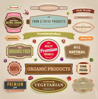 Vruchten set vintage labels kader