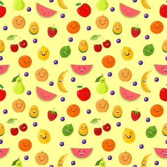 Vruchten sportman naadloos patroon. leuke sport fruit karakters. gezond eten. van het de zomer naadloze patroon illustratie als achtergrond met vers fruit. grappige vruchten voor kinderen op een lichte achtergrond.