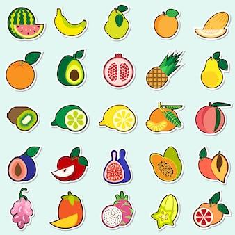 Vruchten stickers op blauwe achtergrond kleurrijke pictogrammen collectie
