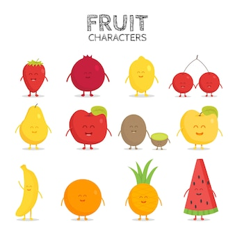 Vruchtenreeks. aardbei, granaatappel, citroen, kers, peer, appel, kiwi banaan ananas sinaasappel watermeloen vector cartoon friends forever stripfiguren