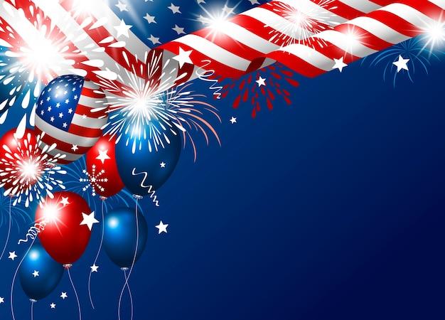 Vs 4 juli gelukkige onafhankelijkheidsdag van de amerikaanse vlag en ballon met vuurwerk