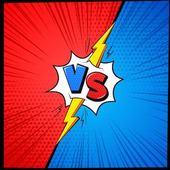 Vs cartoon achtergrond. tegenover brieven stripboek frame met halftoon. vecht competitie mma vechtuitdaging