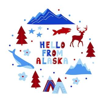 Vs collectie. hallo van alaska thema. staatssymbolen ronde vormkaart