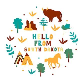 Vs collectie. hallo vanuit het thema van south dakota. staatssymbolen