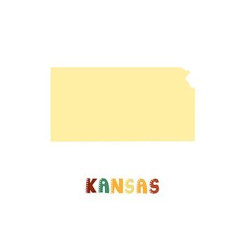 Vs collectie. kaart van kansas - geel silhouet