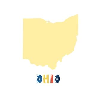 Vs collectie. kaart van ohio - geel silhouet. belettering in doodle-stijl