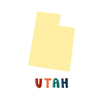 Vs collectie. kaart van utah - geel silhouet. belettering in doodle-stijl