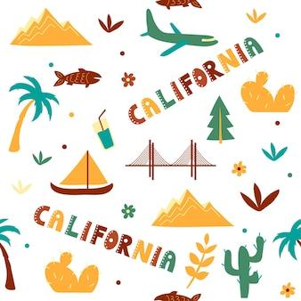Vs collectie. vectorillustratie van californië thema. staatssymbolen - naadloos patroon