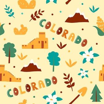 Vs collectie. vectorillustratie van colorado thema. staatssymbolen - naadloos patroon