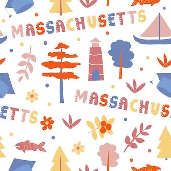 Vs collectie. vectorillustratie van massachusetts thema. staatssymbolen - naadloos patroon