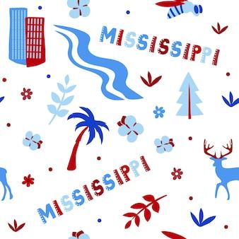 Vs collectie. vectorillustratie van mississippi thema. staatssymbolen