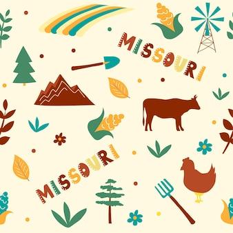 Vs collectie. vectorillustratie van missouri thema. staatssymbolen