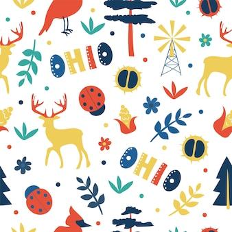 Vs collectie. vectorillustratie van ohio-thema. staatssymbolen - naadloos patroon Premium Vector