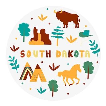 Vs collectie. vectorillustratie van zuid-dakota. staatssymbolen - ronde vorm